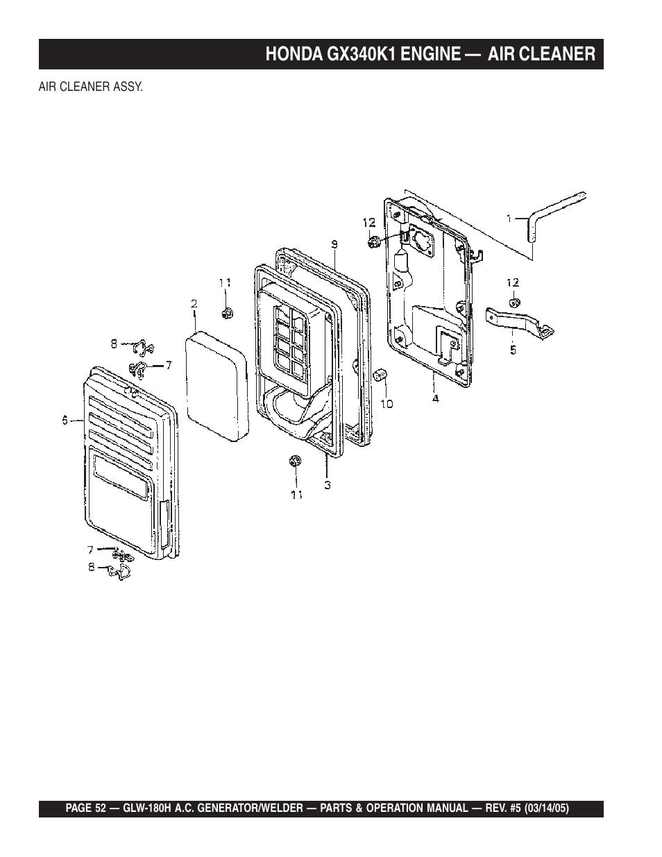 Gx340 K1 Manual Wiring Diagram Honda Gx340k1 Engine Air Cleaner Multiquip A C Generator Glw Rh Manualsdir Com