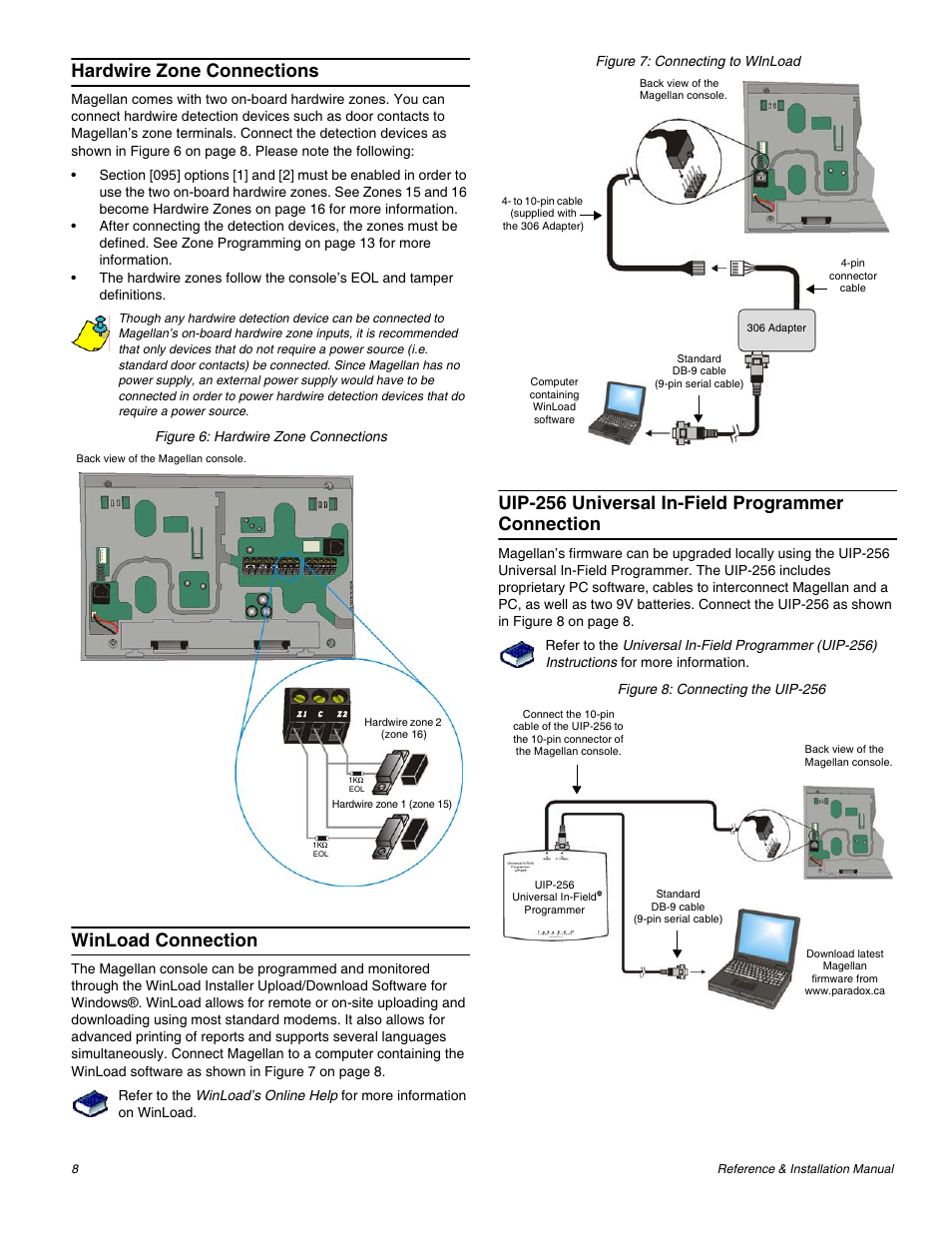 Hardwire zone connections, Winload connection, Uip-256 universal in-field  programmer connection