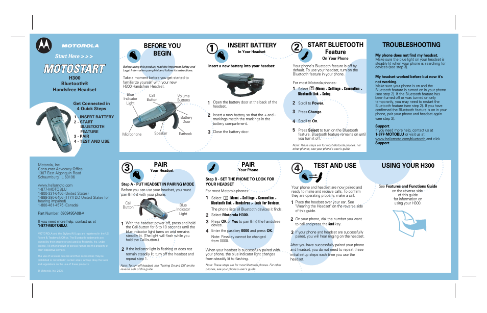 motorola h300 user manual 2 pages rh manualsdir com Motorola H700 Motorola Bluetooth Devices
