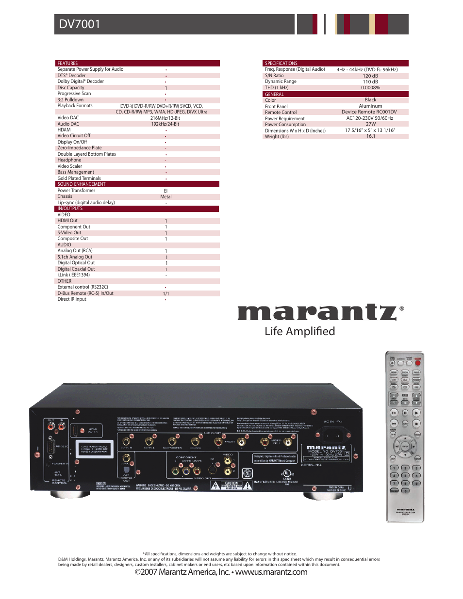 dv7001 p2 dv7001 life amplified marantz dv7001 user manual rh manualsdir com Kindle Fire User Guide Kindle Fire User Guide