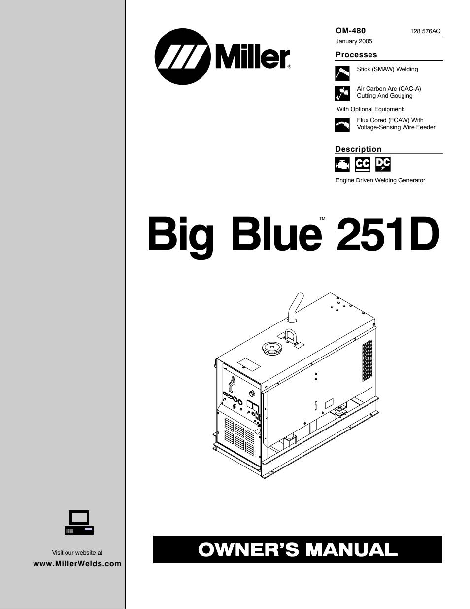 miller electric big blue 251d user manual