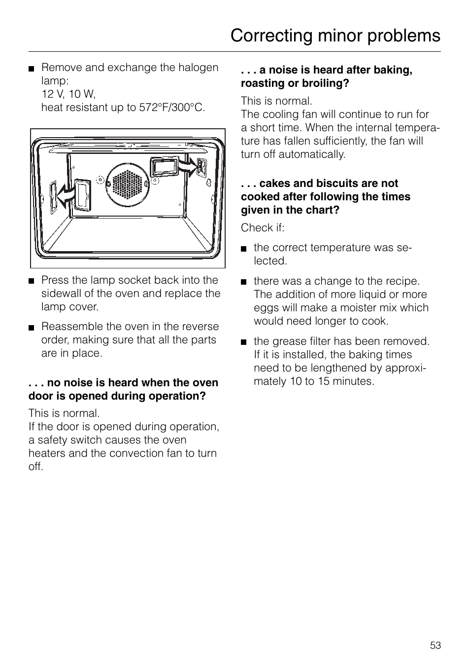 Correcting minor problems | Miele H 277 B User Manual | Page