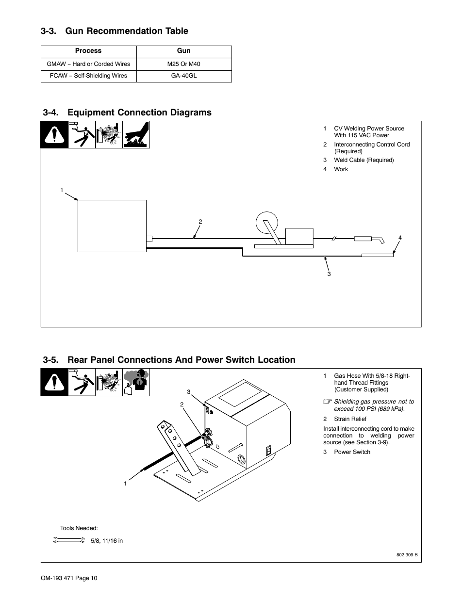 3 Gun Recommendation Table 4 Equipment Connection Diagrams Gas Welding Diagram Miller Electric R 115 User Manual Page 14 36