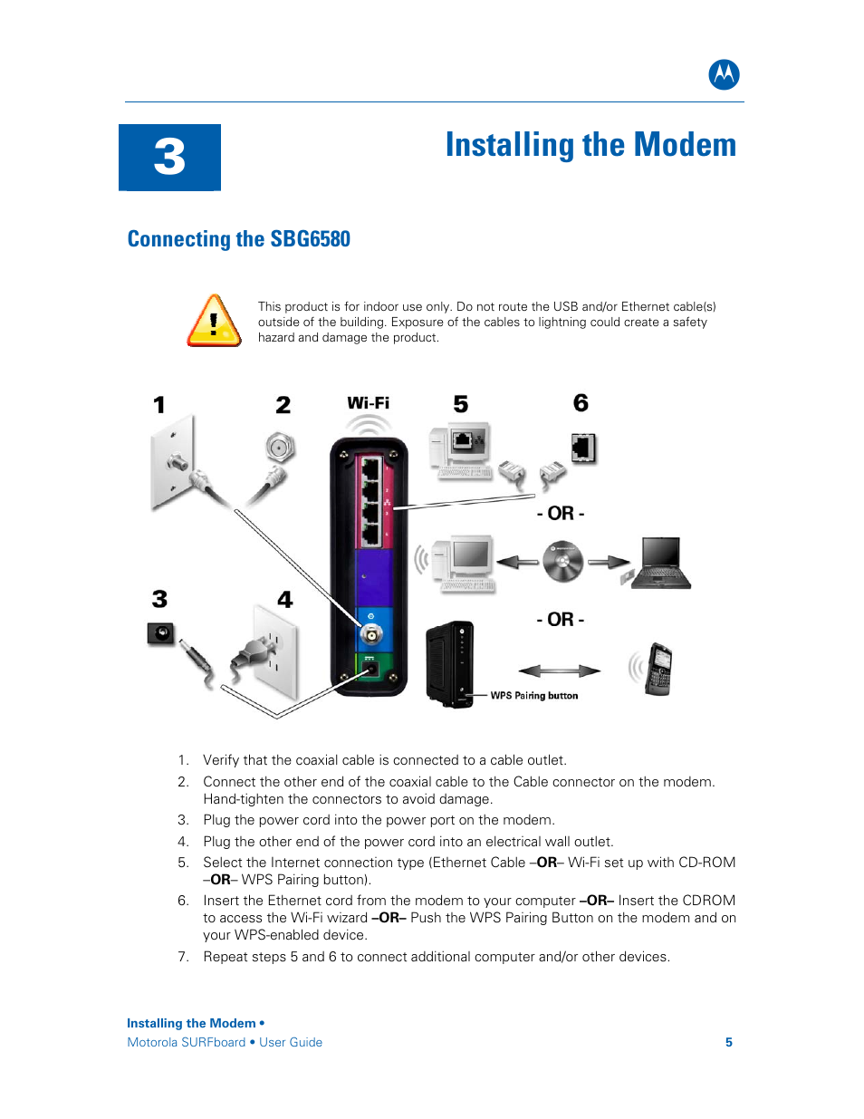 Connecting The Sbg6580 Installing The Modem Manual Guide