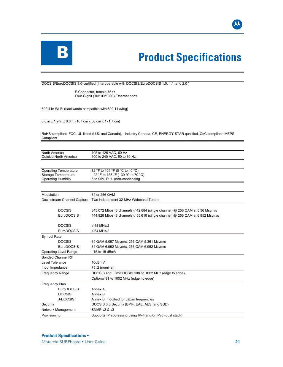 Product Specifications Motorola Surfboard Sbg6580 Series User