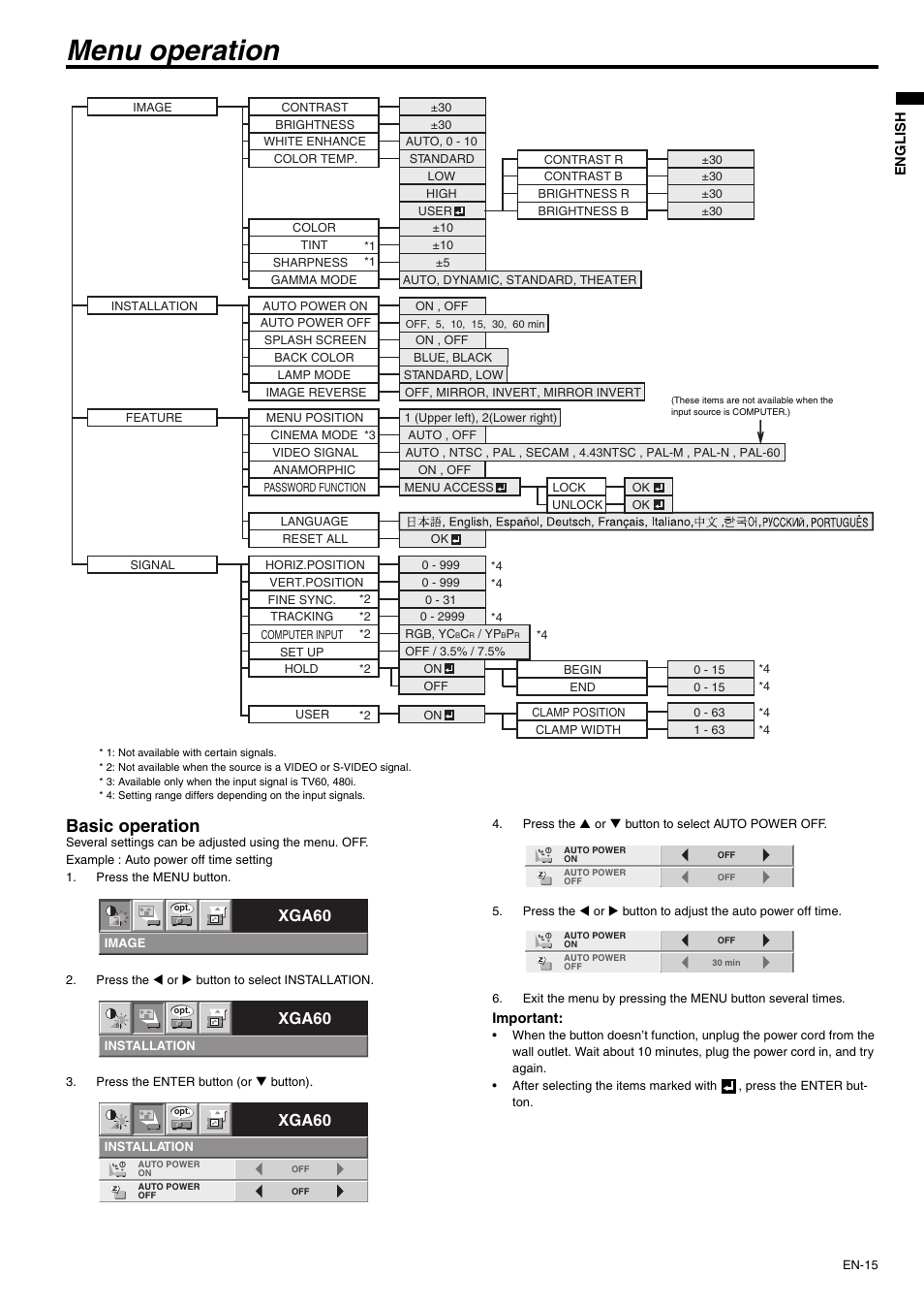Menu operation, Basic operation, Xga60 | MITSUBISHI ELECTRIC XD430U User  Manual | Page 15 / 30