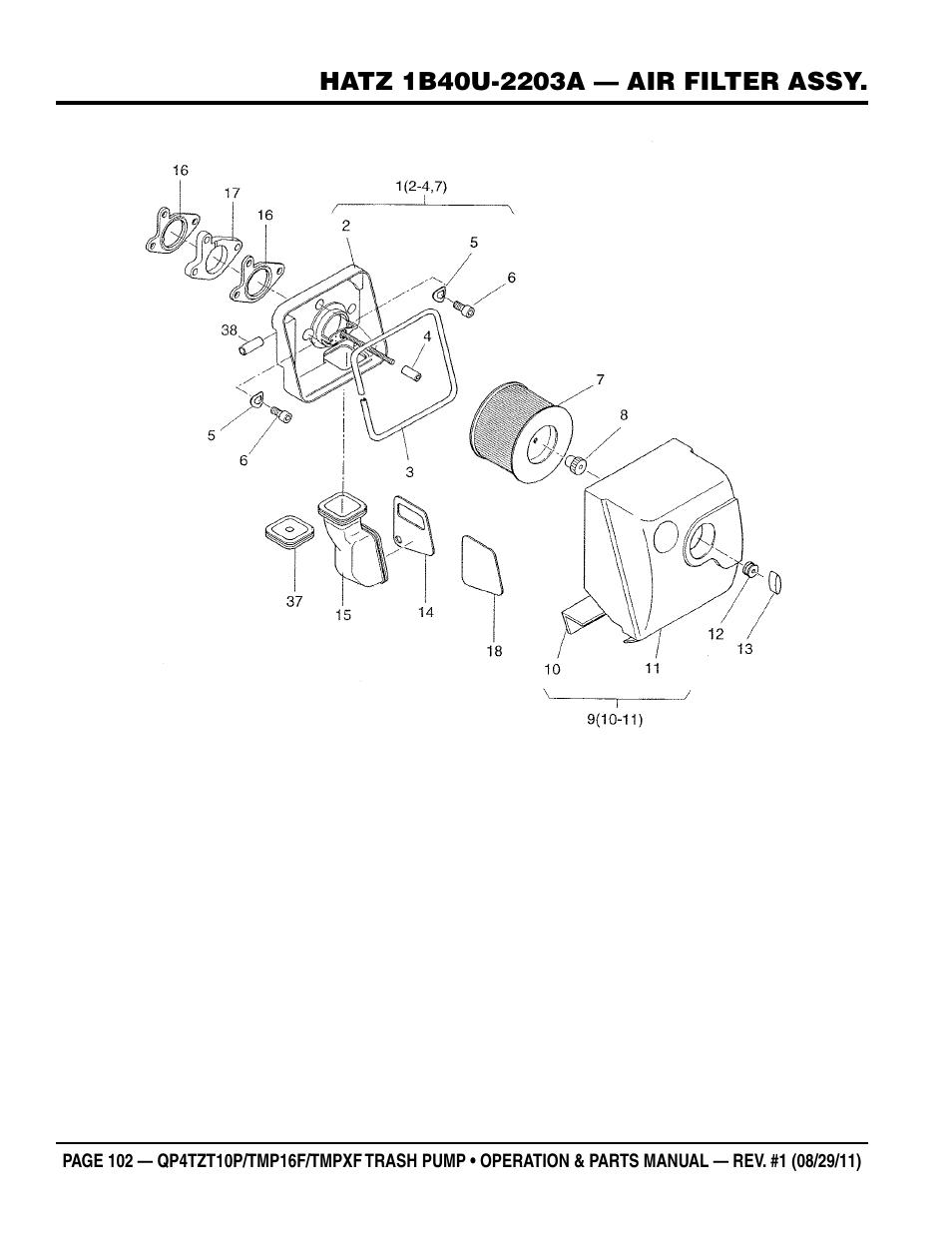 Multiquip Trash Pump Hatz 1b40u 2203a Diesel Engine Qp4tzt10p User Diagram Manual Page 102 118 Also For