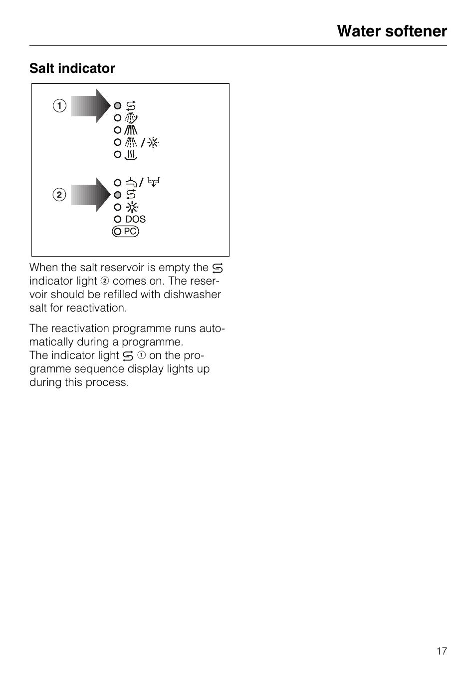 Salt Indicator 17 Water Softener Miele G7859 User Manual Page 56
