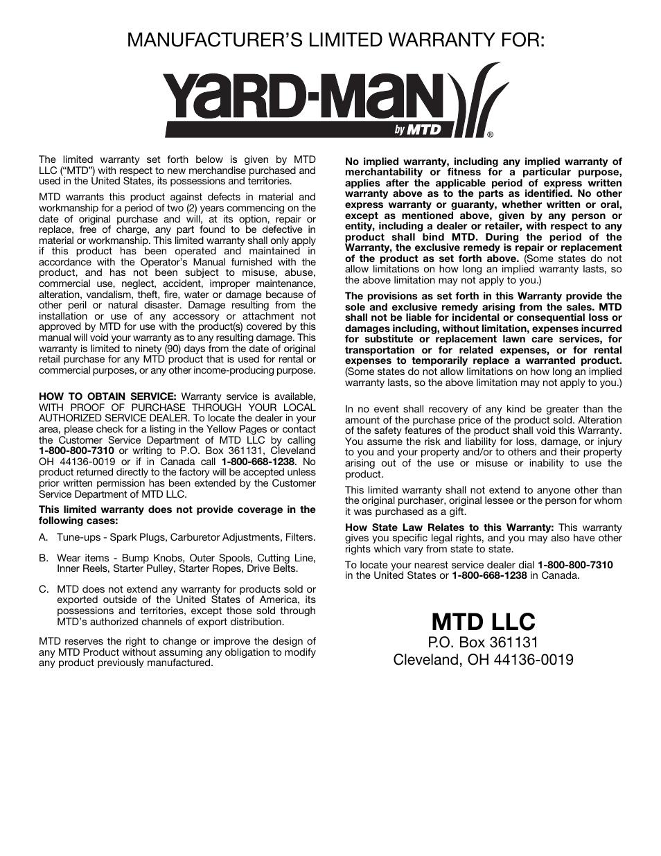 Mtd llc, Manufacturer's limited warranty for | MTD Yard-Man YM137 User  Manual |