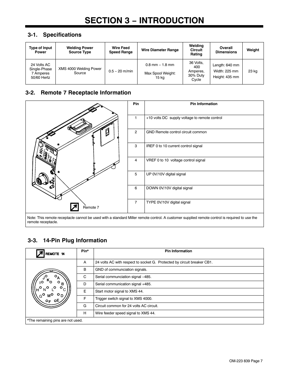 Section 3 − introduction, 1. specifications, 2. remote 7 receptacle  information   Miller Electric XMS 44 User Manual   Page 11 / 32Manuals Directory