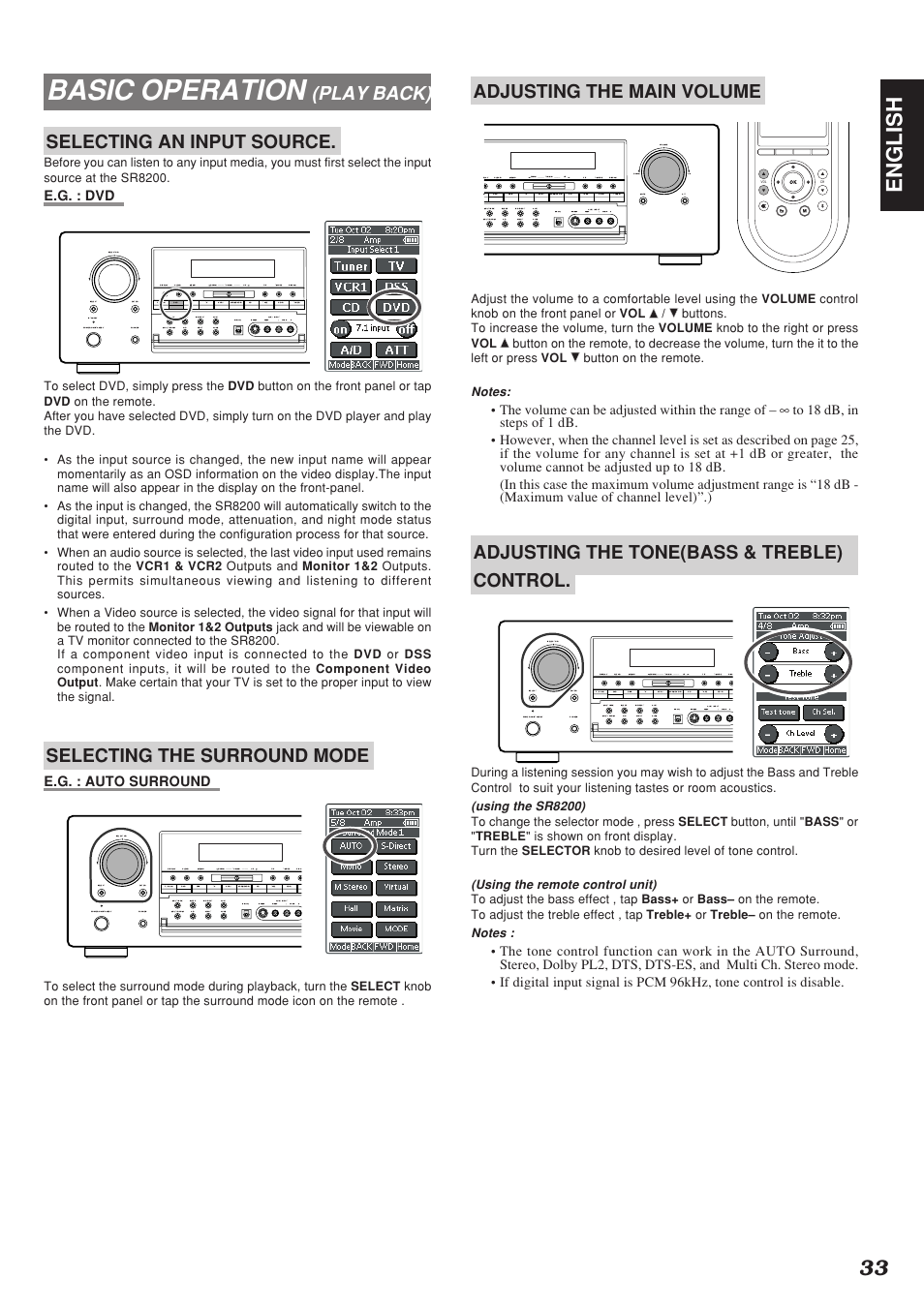 Basic Operation 33 English Play Back Selecting An Input Source Treble Tone Control Marantz Sr8200 User Manual Page 37 53