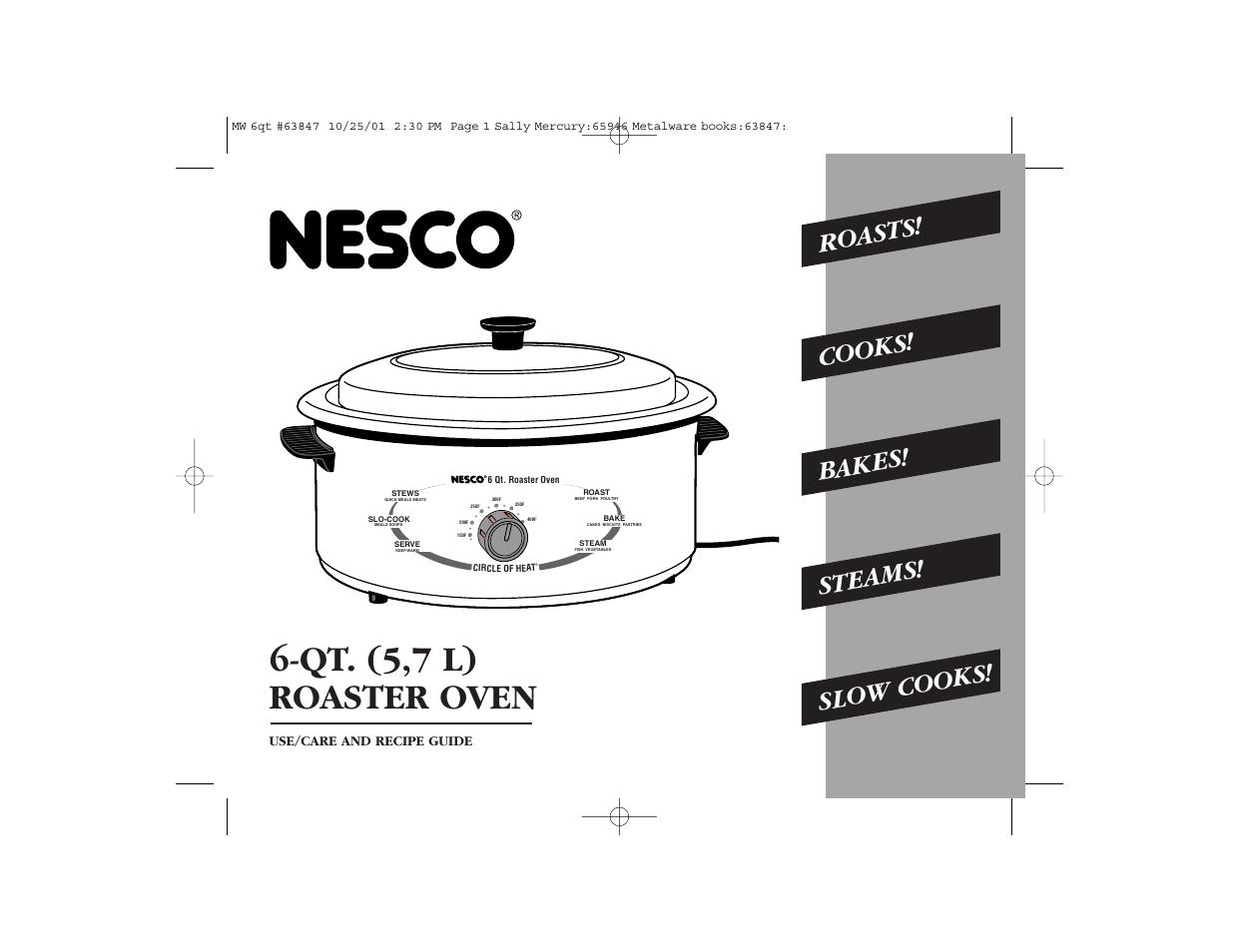 nesco 6 qt  roaster oven user manual