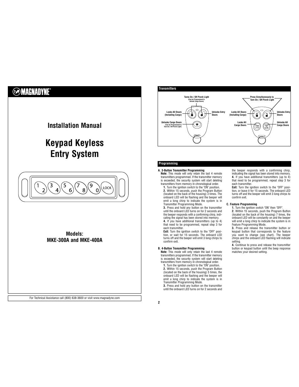 magnadyne keypad keyless entry system mke