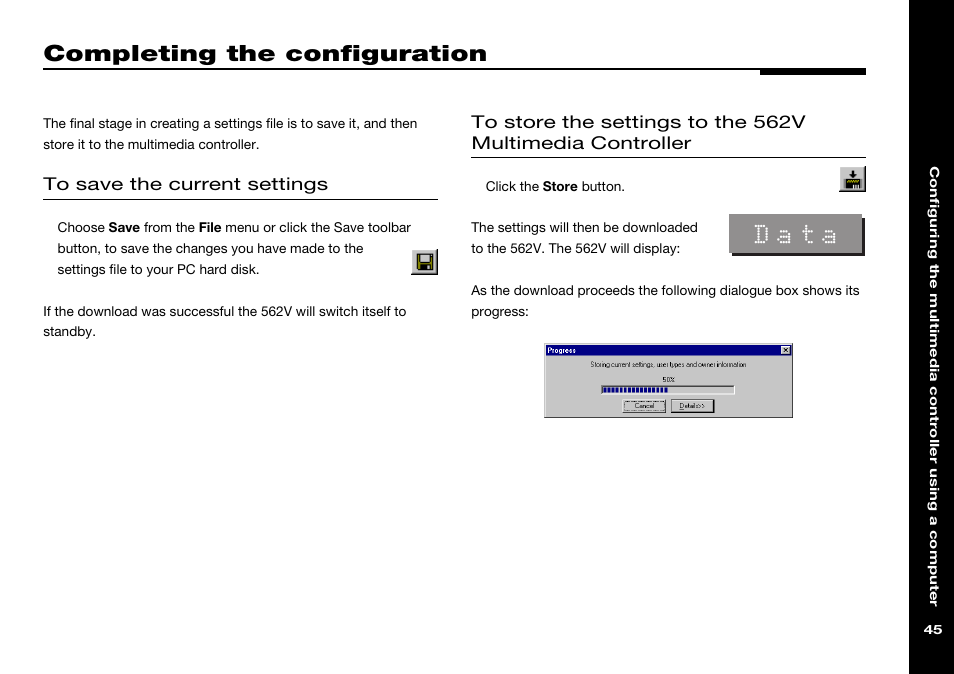 completing the configuration save file menu storing settings rh manualsdir com Manual Data Icon Advantages of Manual Data Processing
