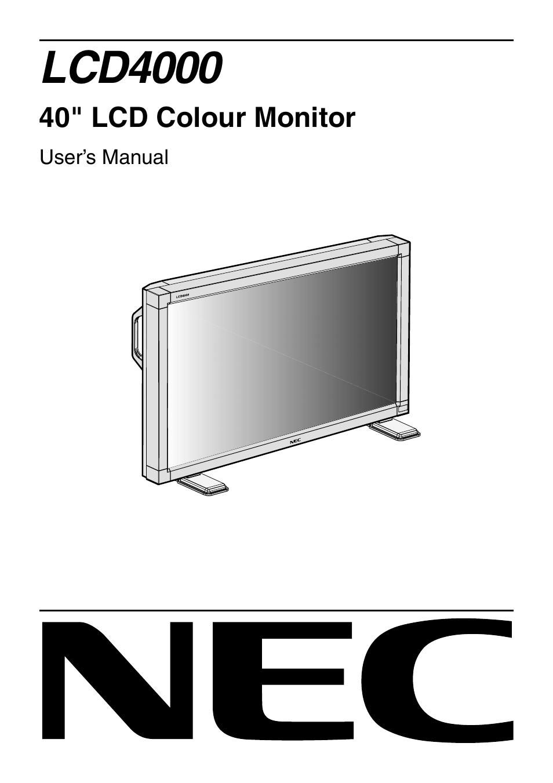 nec lcd4000 user manual 37 pages rh manualsdir com NEC LCD 4 X 3 NEC LCD Panel