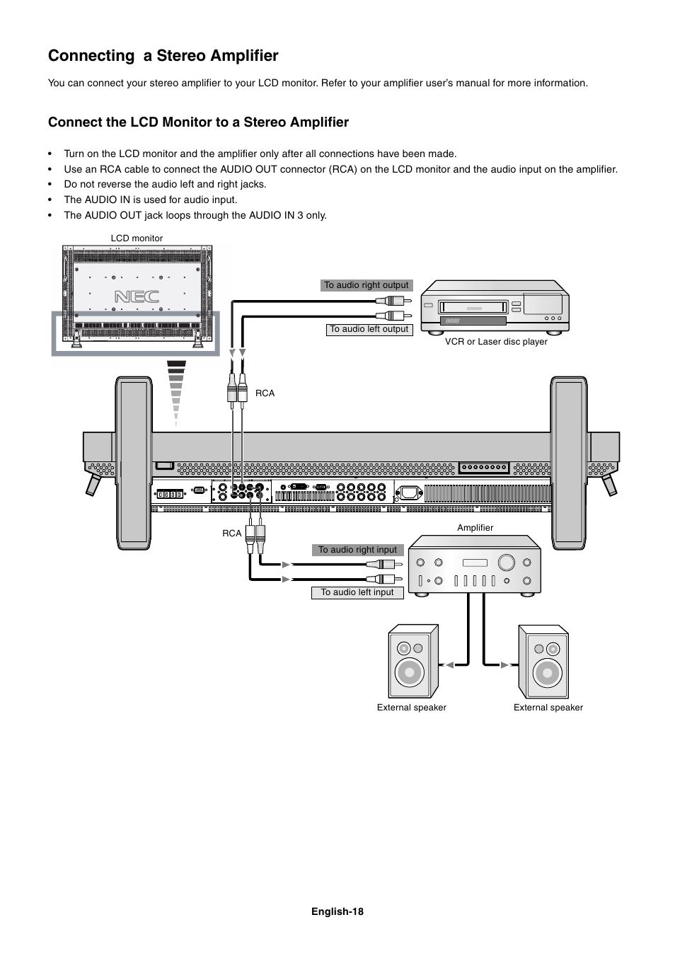 Connecting a stereo amplifier, Connect the lcd monitor to a stereo  amplifier | NEC LCD4000 User Manual | Page 20 / 37