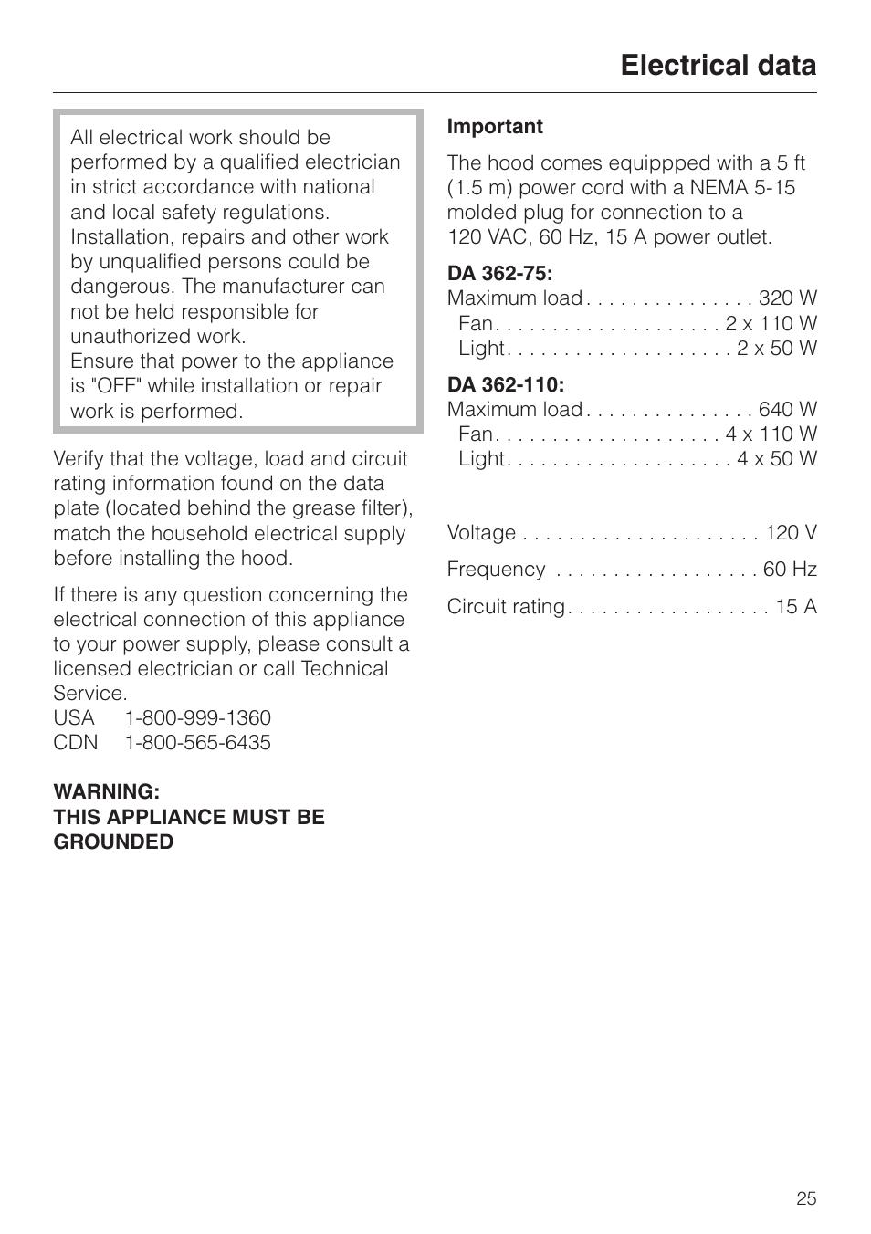 electrical data 25 electrical data miele da 362 75 user manual rh manualsdir com Repair Manuals Service Station