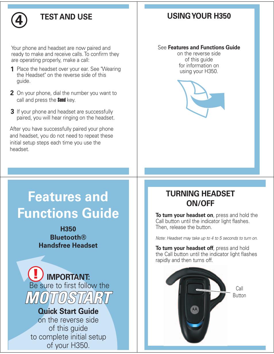 features and functions guide motorola h350 user manual page 3 5 rh manualsdir com bluetooth motorola h350 manual español motorola bluetooth earpiece h350 manual