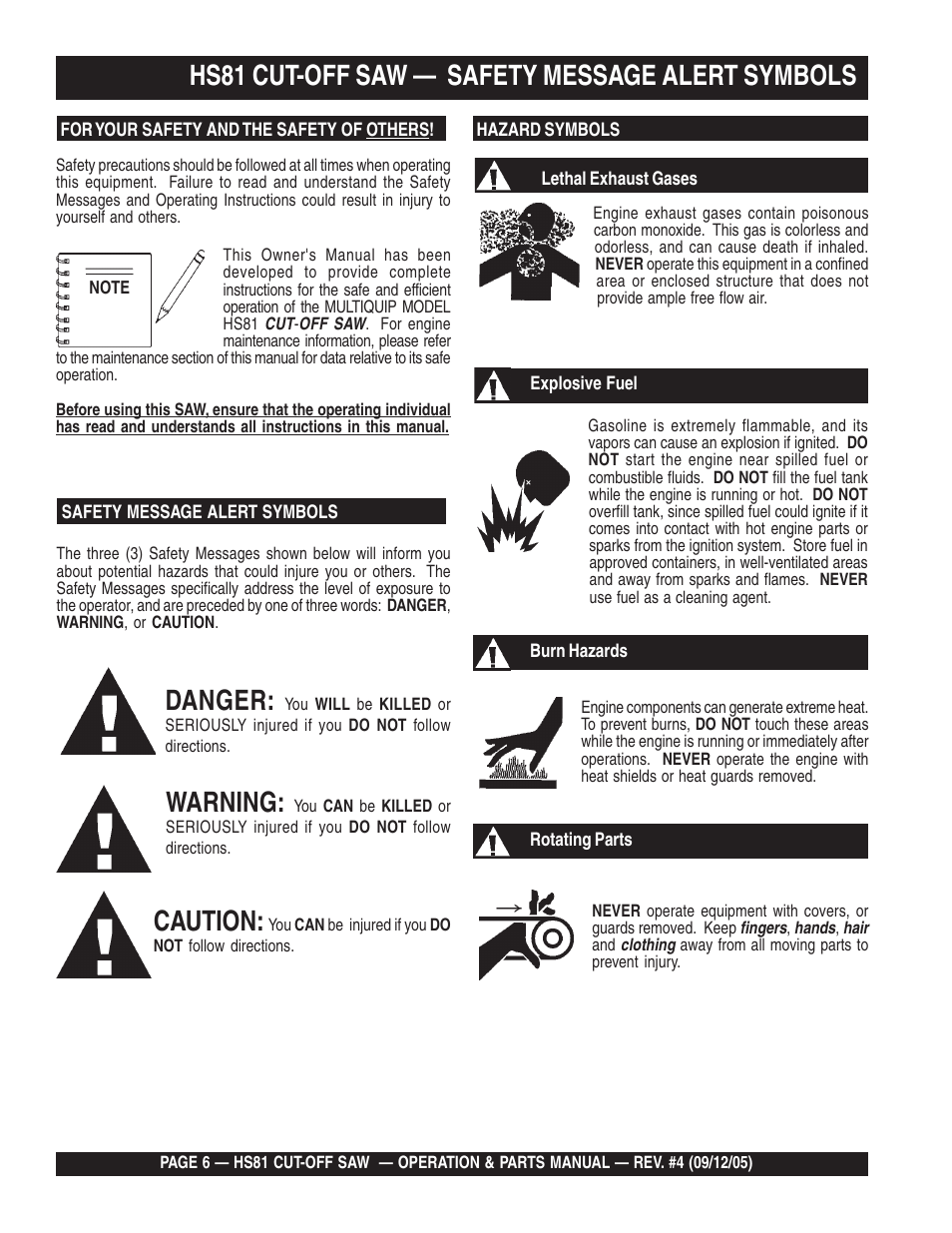 Hs81 cut-off saw — safety message alert symbols, Danger, Warning ...