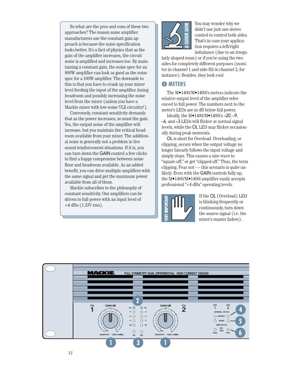 Meters, application diagrams, feature descriptions | mackie m1400.