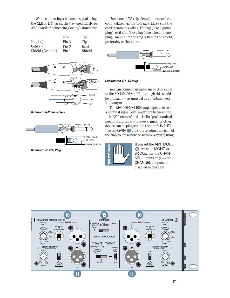 "Speaker outputs, unbalanced 1/4"" ts plug, balanced xlr connectors."