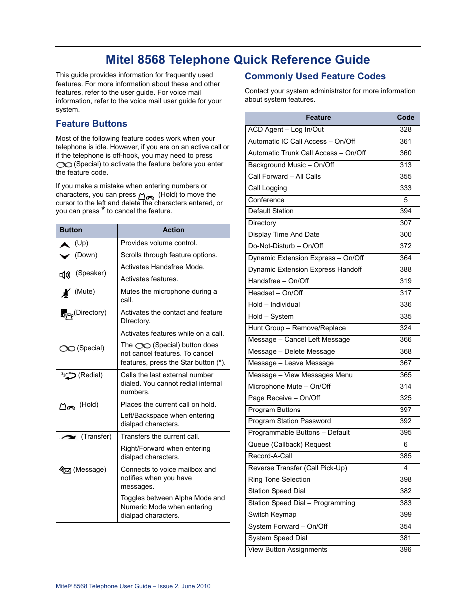 Mitel 8568 Telephone Quick Reference Guide  Feature