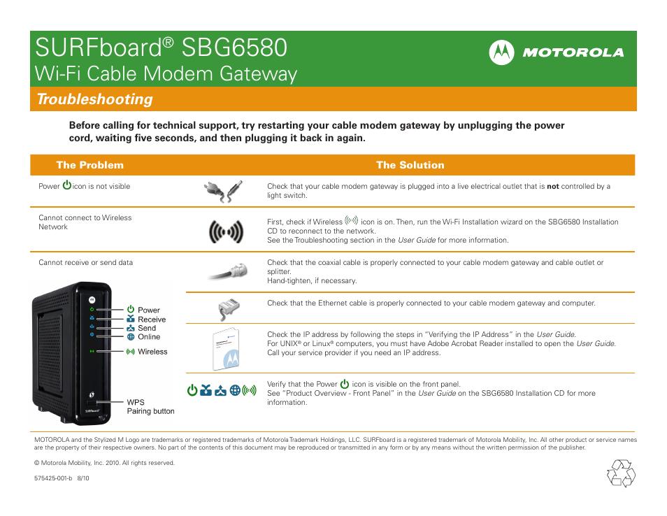 surfboard sbg6580 wi fi cable modem gateway motorola surfboard rh manualsdir com Motorola DOCSIS 3.0 Cable Modem Motorola SB5101 Modem