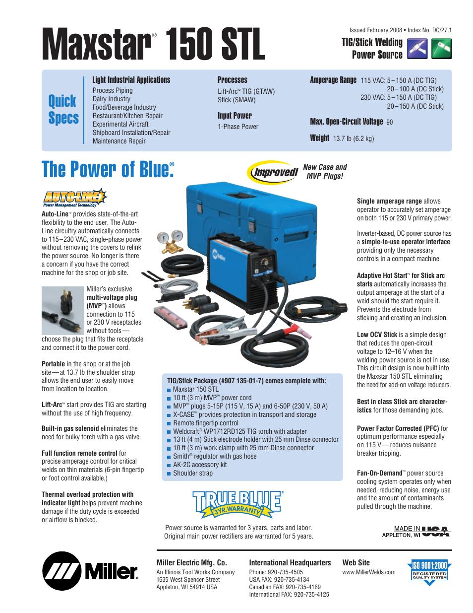 Miller Electric Maxstar 150 Stl User Manual