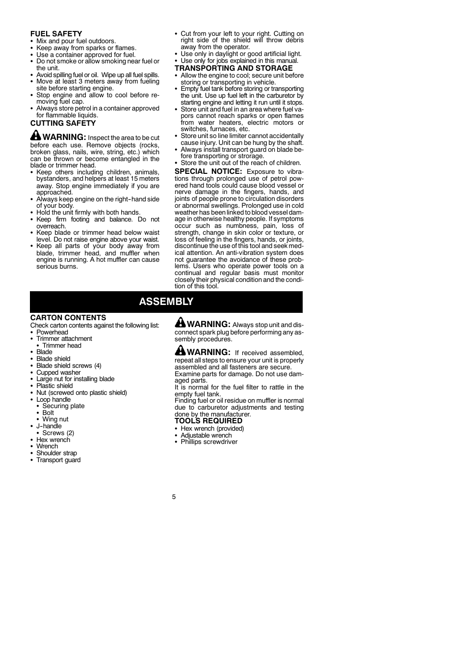Assembly, Warning | McCulloch Cabrio 115249726 User Manual | Page 5 / 21