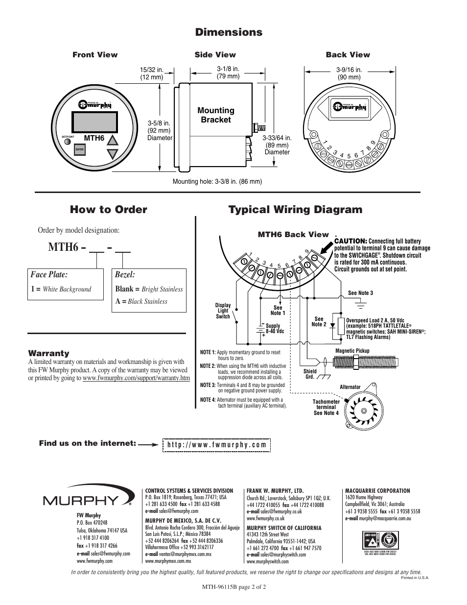 Mth6 Typical Wiring Diagram How To Order Dimensions Murphy Mounting Bracket Bezel Face Plate