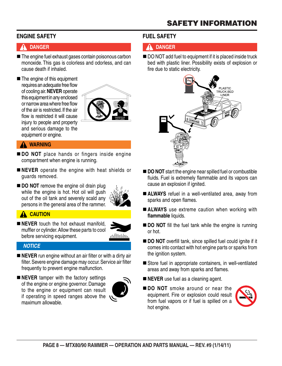 Safety information   Multiquip Mikasa Series Tamping Rammer MTX80 User  Manual   Page 8 / 66