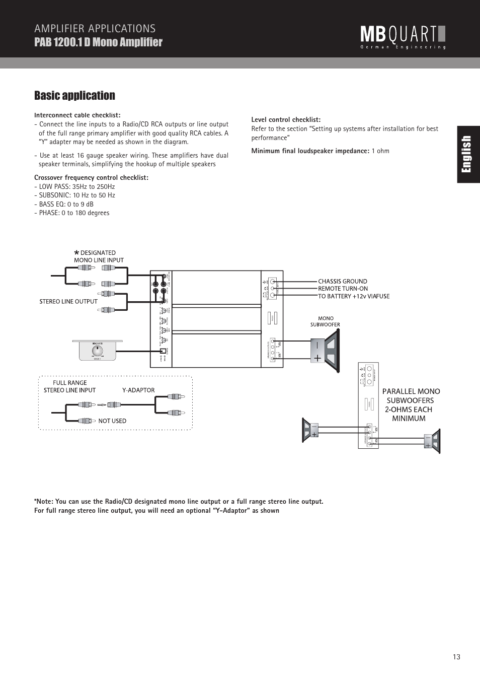 Mono Amplifier Wiring Diagram