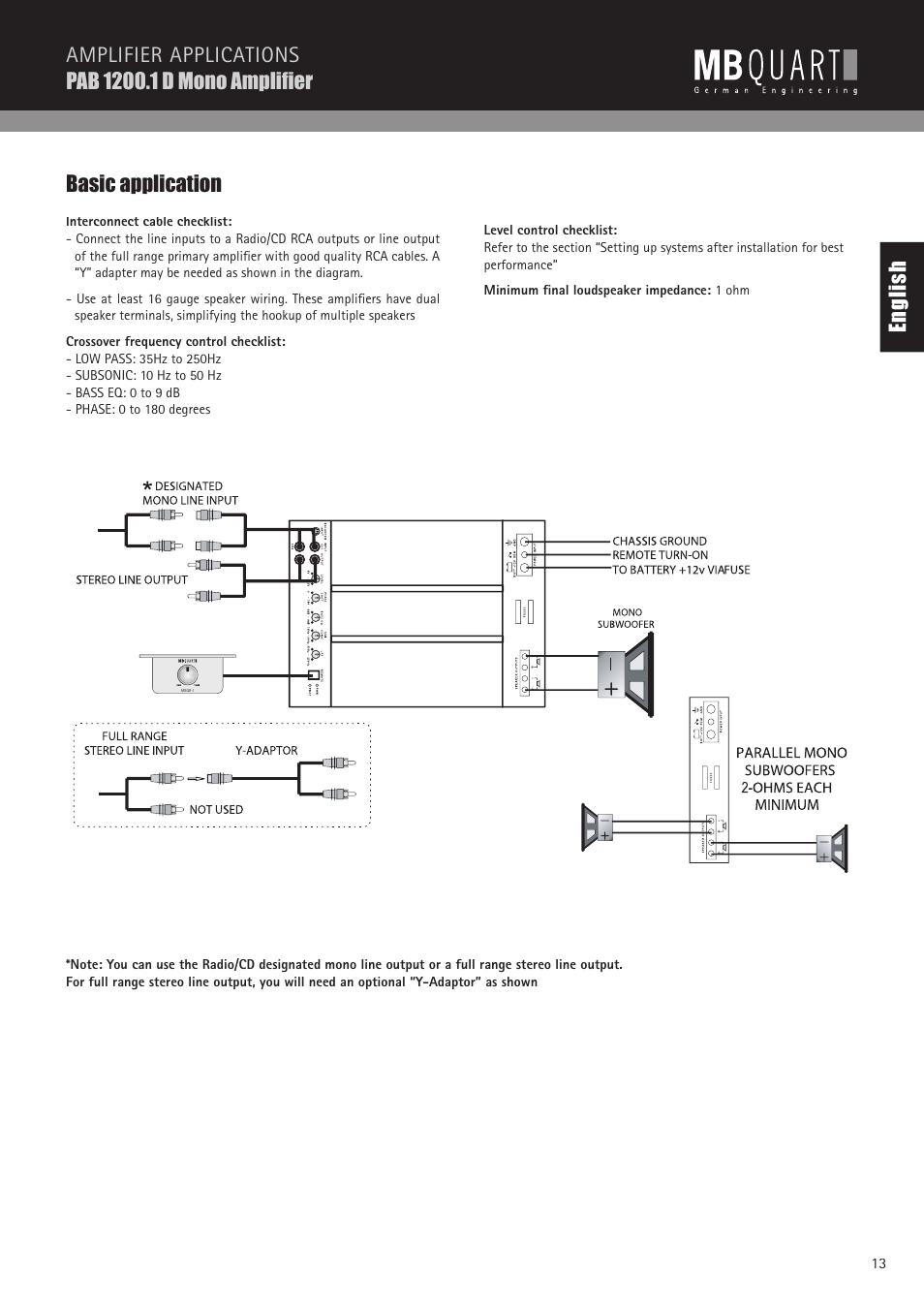 en gl is h basic application mb quart pab 1200 1 d user manual rh manualsdir com MB Quart Crossover Diagram mb quart crossover wiring diagram