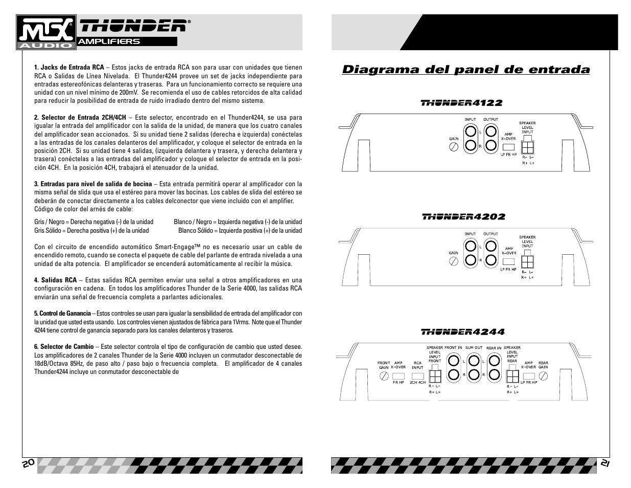 diagrama del panel de entrada mtx audio thunder4202 user manual rh manualsdir com MTX Thunder Speakers MTX Thunder Speakers