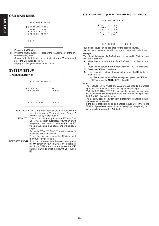 English, Osd main menu, System setup | Marantz SR5200 User Manual | Page 17