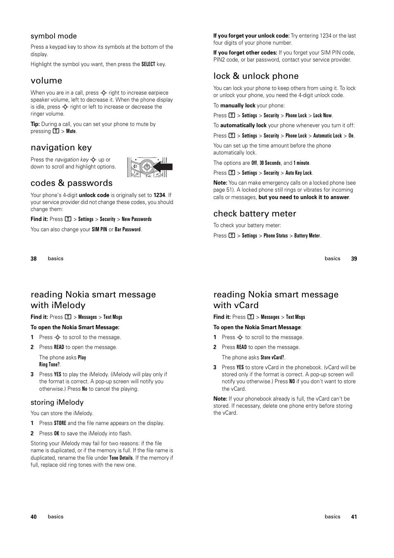 Volume, Navigation key, Codes & passwords | Motorola C139 User