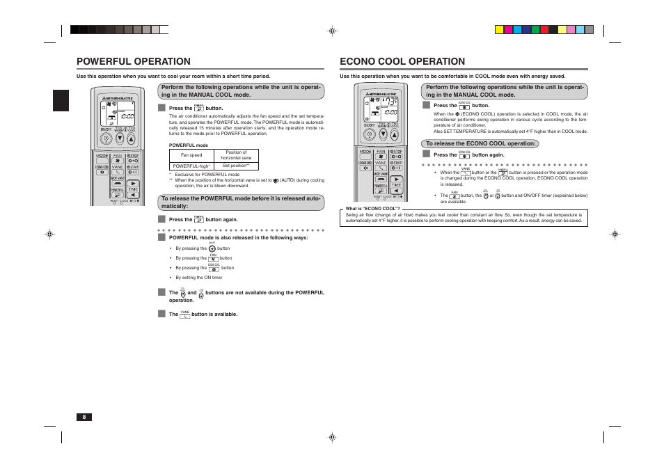 Great Econo Cool Operation, Powerful Operation | MITSUBISHI ELECTRIC MR. SLIM  MSY A24NA User Manual | Page 8 / 14