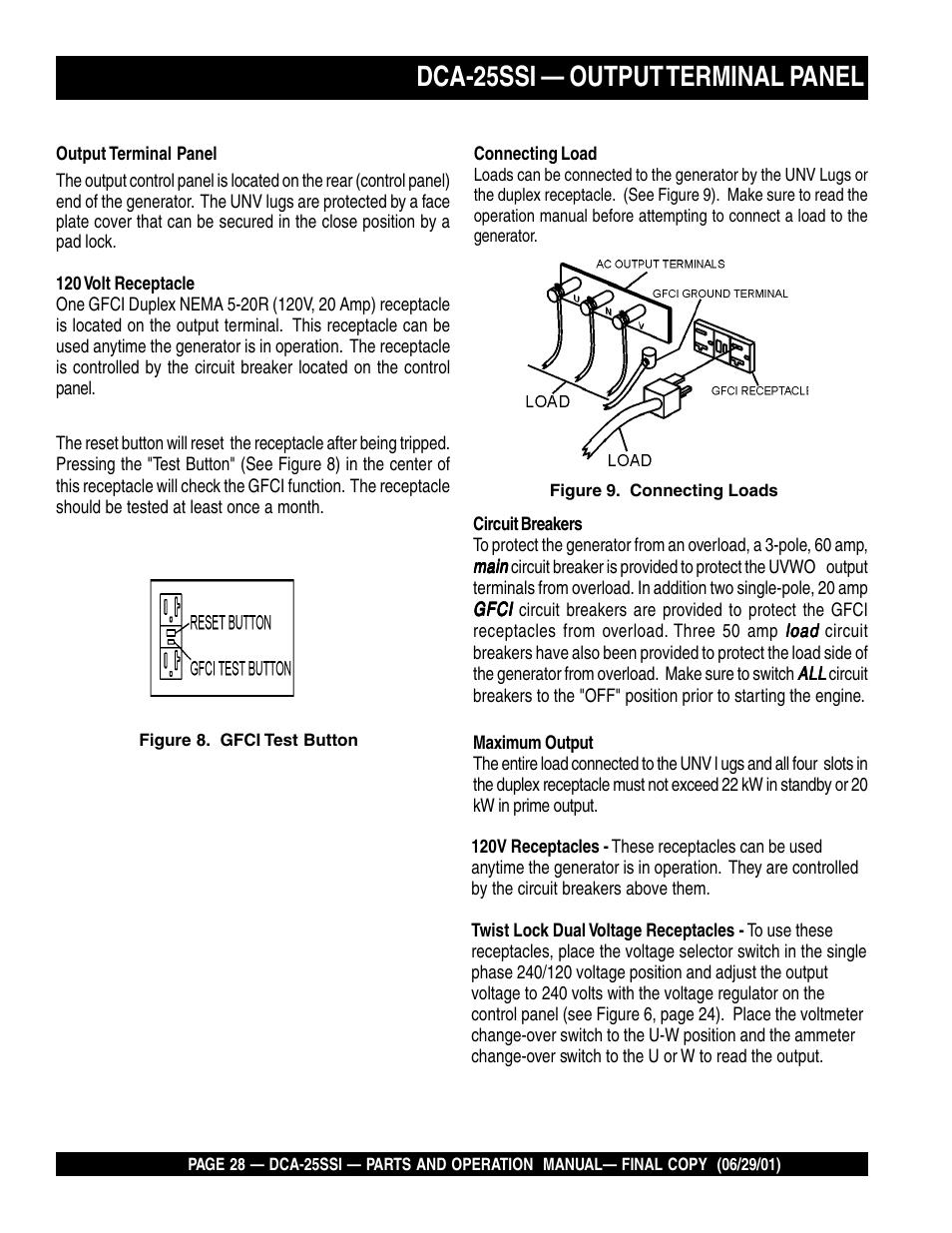 Dca-25ssi — output terminal panel | Multiquip MQ Power Whisperwatt ...