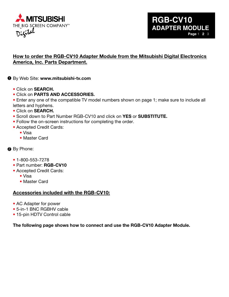 Rgb-cv10, Adapter module | MITSUBISHI ELECTRIC RGB-CV10 User