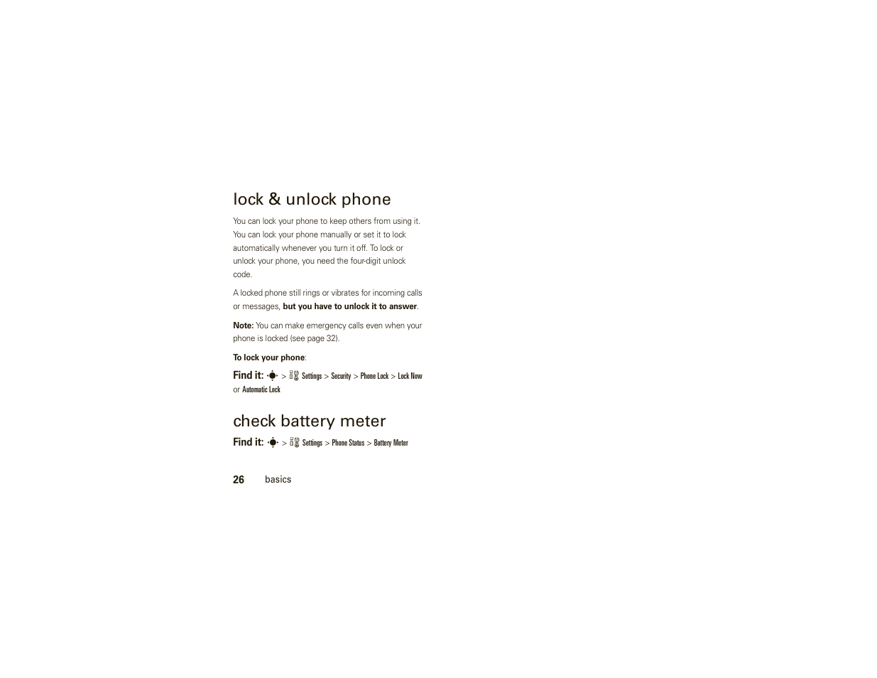 Lock & unlock phone, Check battery meter | Motorola W377G