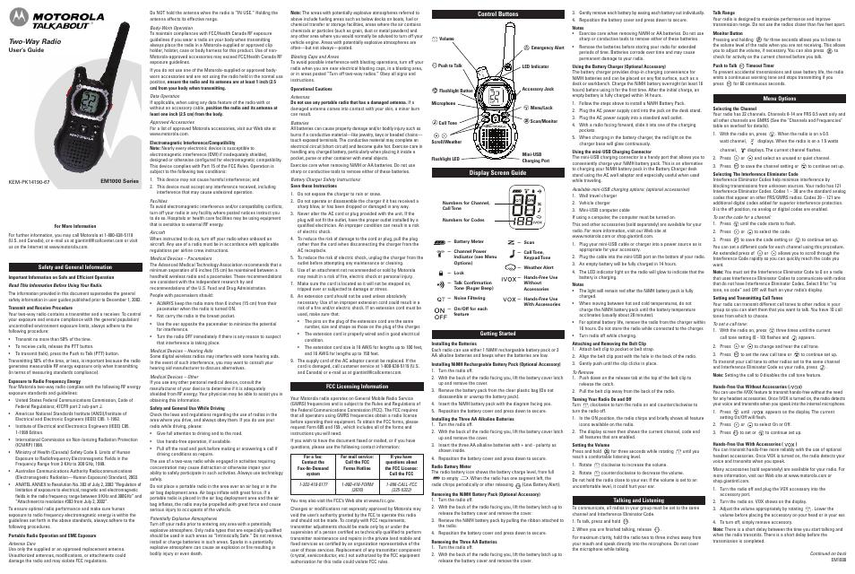 motorola em1000 user manual 2 pages rh manualsdir com motorola talkabout t5720 user manual motorola talkabout t5420 user manual