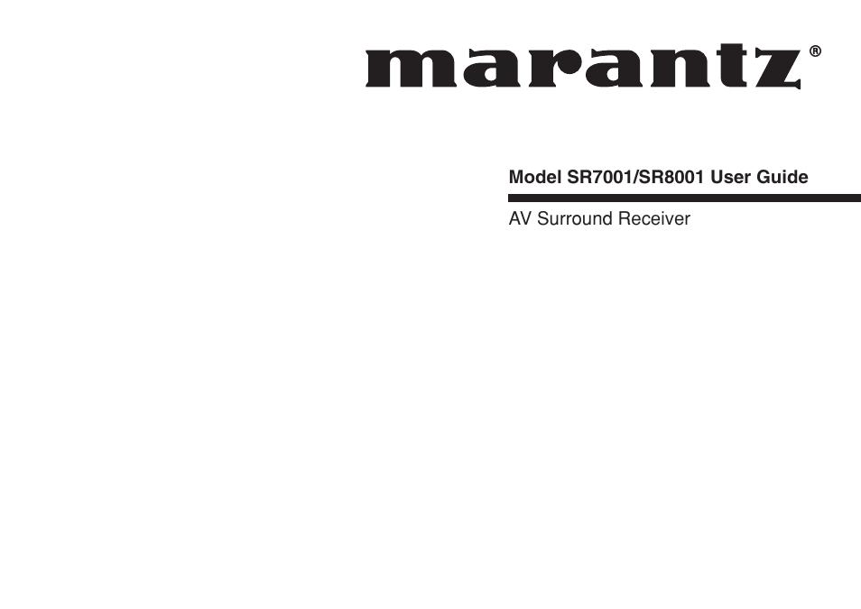marantz sr8001 user manual 79 pages also for sr7001 sr7001n rh manualsdir com Thx Home Theater Receiver Marantz SR7500 SR7001 Marantz Receiver