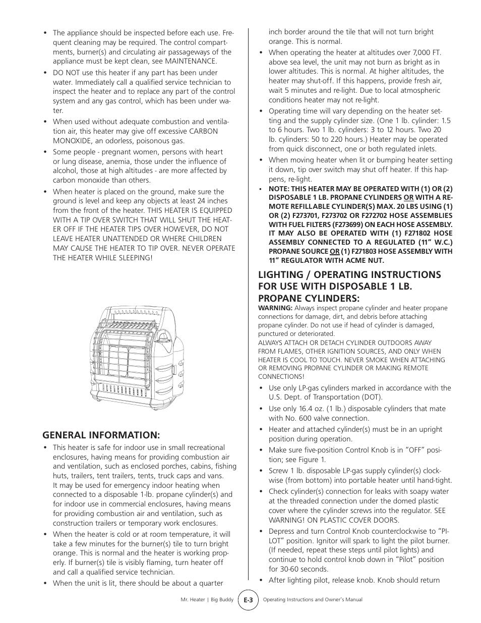 General Information Mr Heater Big Buddy Mh188 User