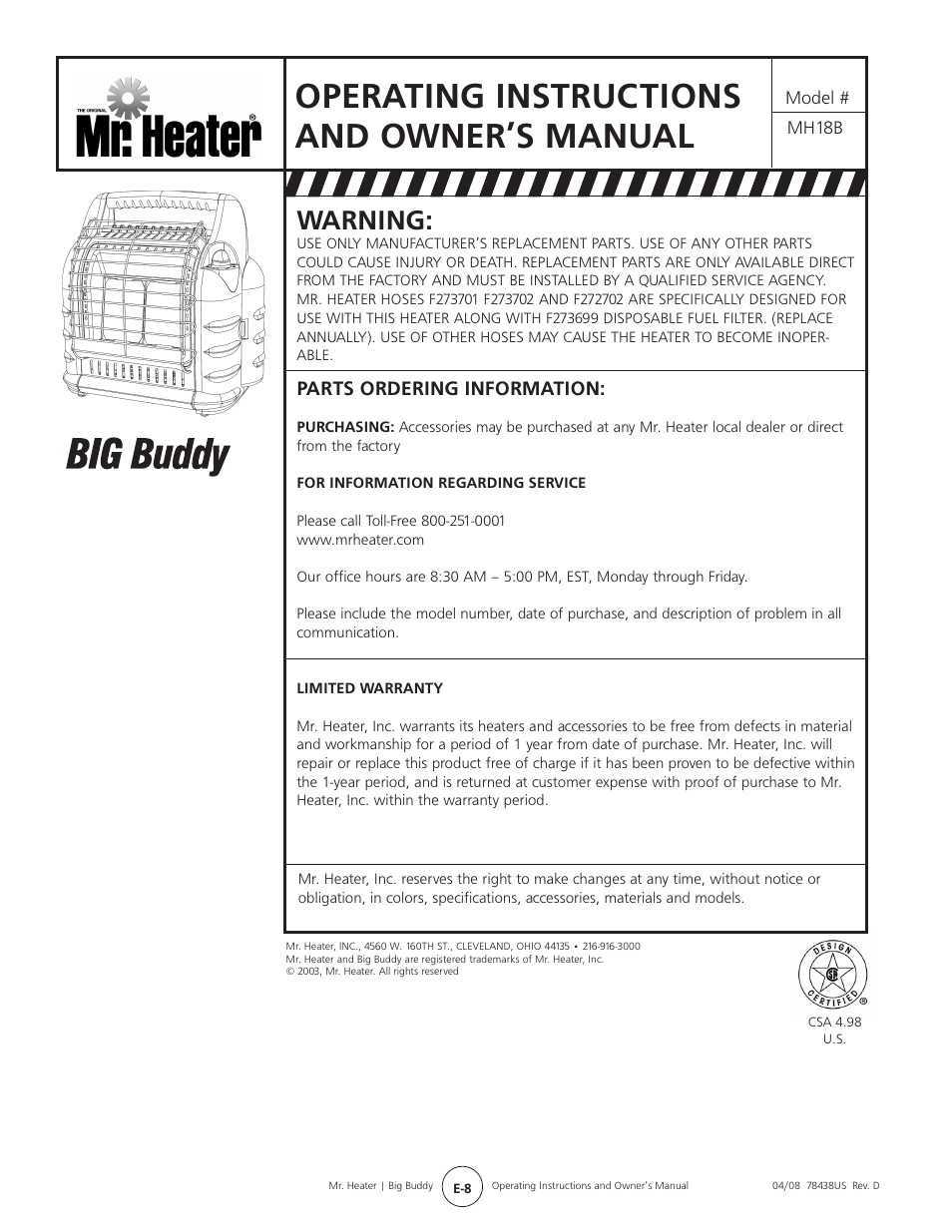 Operating Instructions And Owner S Manual Warning Parts