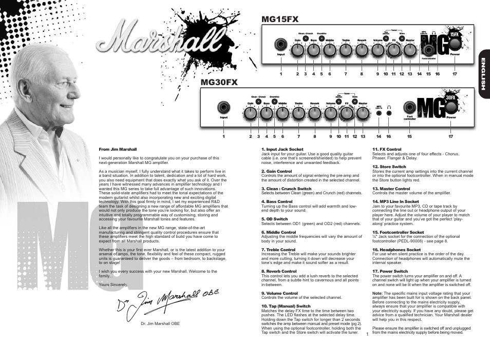 mg15fx mg30fx marshall amplification mg30fx user manual page 2 rh manualsdir com Marshall Amps USA Marshall Amplification Contact U.S.a.