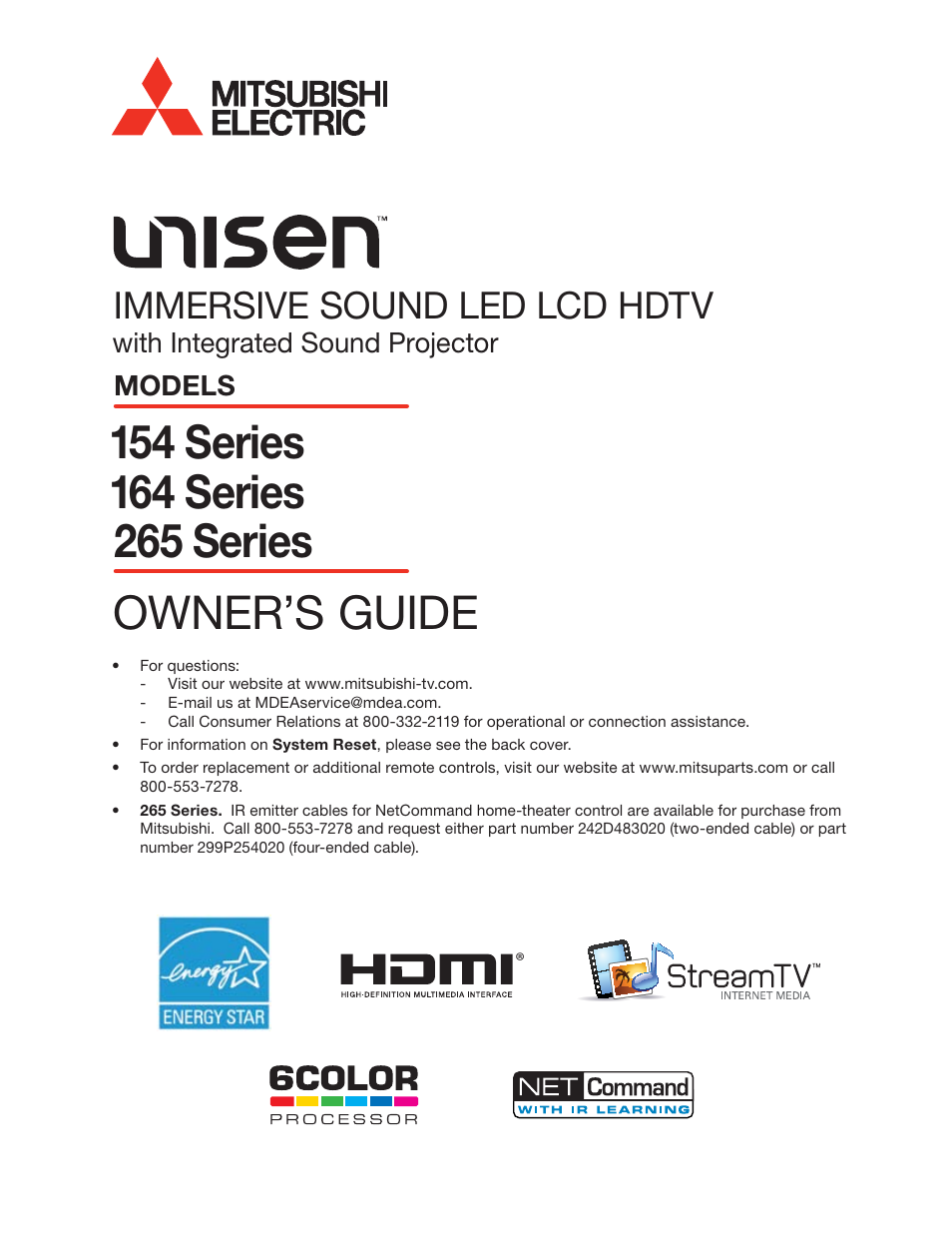 MITSUBISHI ELECTRIC LT-55154 User Manual | 104 pages | Also for: LT-40164,  LT-46164, LT-55164, LT-46265, LT-55265