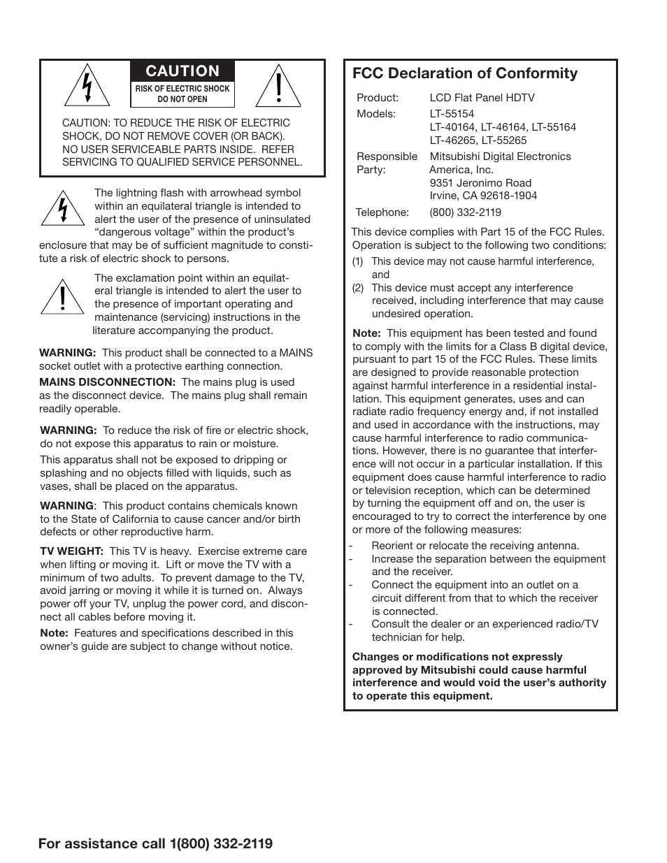 Fcc declaration of conformity, Caution | MITSUBISHI ELECTRIC LT-55154 User  Manual | Page 2 / 104
