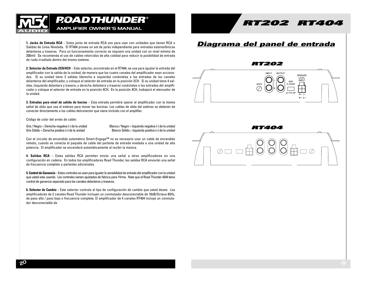 diagrama del panel de entrada mtx audio rt202 rt404 user manual rh manualsdir com MTX Thunder Speakers mtx thunder 4244 owners manual