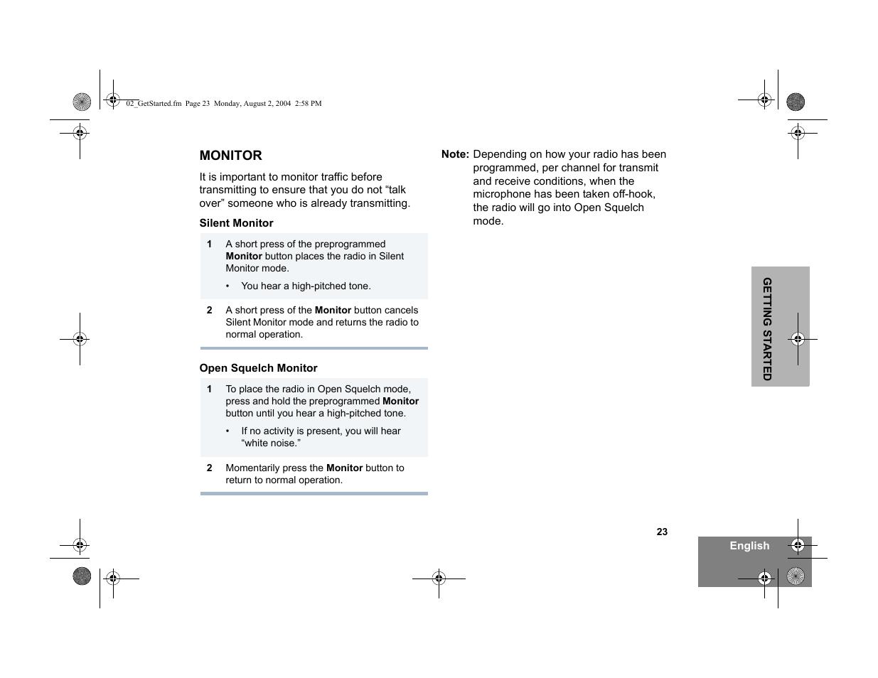 Motorola Pm400 Manual Cdm1250 Wiring Diagram Repeater Access User Page 33 76 Array Monitor Silent Open Squelch Rh Manualsdir Com
