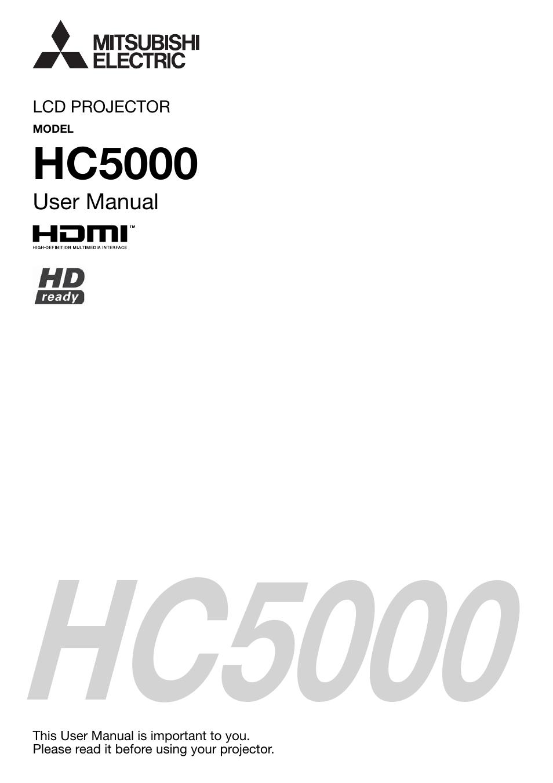 mitsubishi electric hdmi hc5000 user manual 12 pages rh manualsdir com mitsubishi projector instruction manual mitsubishi projector user manual